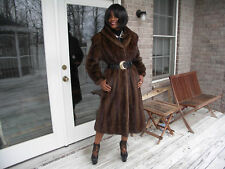 Drk brown Custom Full Length mink fur coat jacket S-M