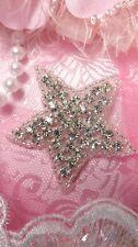 """JB97 Crystal Rhinestone Applique Silver Beaded Star 2"""""""