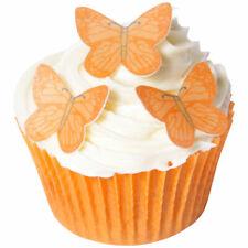 14 PRE-CUT EDIBLE Small Vivid ORANGE Butterflies wafer decoration topper