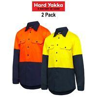 Mens Hard Yakka Shirt 2 Pack Hi-Vis Vented Cotton Twill Work Long Sleeve Y07950