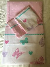 girls single duvet cover butterflies and pink check