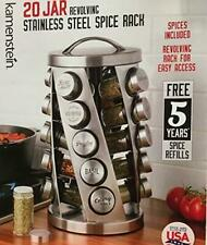 Contemporary Spice Rack Stainless Steel 20 Jar Revolving Rack, Spices Included