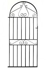 Wrought Iron Metal Arched Scroll Tall Garden Gate 3ft(915mm) x 6ft2(1880mm) WWB3