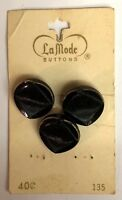 "LA MODE 3 BLACK WITH GOLD TRIM BUTTONS HOOK 3/4"" VINTAGE NOS"