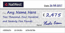 LARGE Personalised NATWEST Cheque for Charity / Presentation / Fundraising