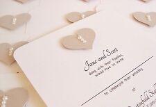 Set of 10 Personalised Handmade Pearl Heart Vintage Wedding Invitations