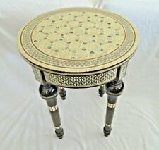 """1 Egyptian Inlaid Mother of Pearl Mahogany Wood Table Round 16"""" Diameter X 20.5"""""""