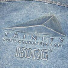 Vintage 1995 Korg Trinity Music Workstation DRS Synth Denim Jean Jacket Large