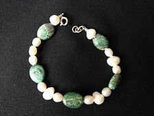 925 Silver Bracelet with Natural Green Kingman Turquoise and real Keshi Pearls