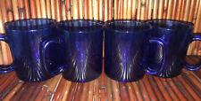 Arcoroc France Set of 4 Saphire Cobalt Blue Glass Coffee Mugs Cup 10oz Vintage