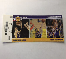 Los Angeles Lakers Dallas Mavericks NBA Basketball Game Ticket Stub Apr 4 2014