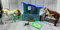 DreamWorks Spirit Riding Free Toy Lot 2 Horses 2 Fenses Stall Accessories