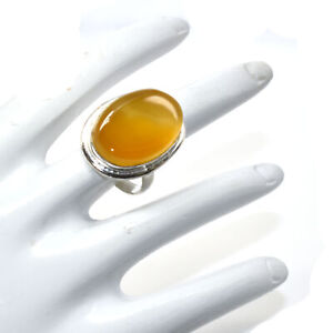 Oval Yellow Agate Gemstone Fashion Ethnic Style Jewelry Ring Adjustable GQ293