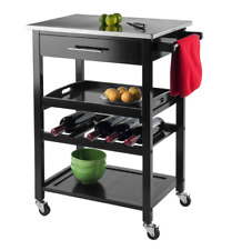 Winsome Wood Stainless Steel Wheels Kitchen Cart Roller Drawer Black Storage NEW