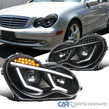 01-07 Benz W203 C-Class Black Projector Headlights Head Lamps+LED DRL & Signal