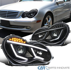 For 01-07 Mercedes Benz W203 C-Class Black LED DRL Bar Projector Headlights Lamp