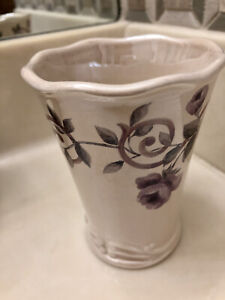 "Croscill Chambord Cassis Ceramic Bathroom Tumbler Glass Cup Purple Floral 4-1/4"""