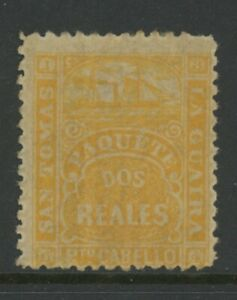 DANISH WEST INDIES, MINT, #2 REALES, OG LH, YELLOW, PAQUETE, PUERTO CABELLO