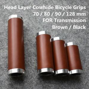 1 Pair Classic Bike Handlebar Grips Retro 2mm Leather Bicycle Long Short Grips