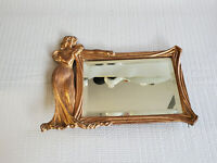 Vintage Art Deco Brass Table Vanity Mirror 12'' by 9.75''