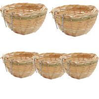 5x nidi di uccelli fatti a mano in bambù naturale nidi ornamenti retrò per la