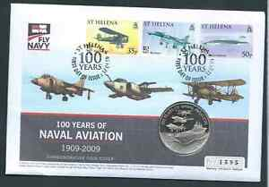 ST HELENA 2009 NAVAL AVIATION COIN COVER INTERESTING!