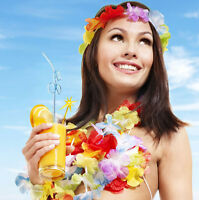 12Pcs Hawaiian Beach Lei Leis Flower Necklace Decorations Tropical Luau Party
