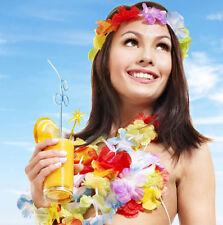 10Pcs Hawaiian Beach Lei Leis Flower Necklace Decorations Tropical Luau Party