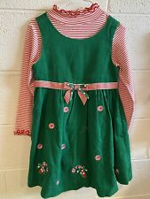 GIRLS SZ 6 BONNIE JEAN GREEN RED CHRISTMAS DRESS 2 PC SET Candy Canes HOLIDAY!!!