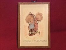 """1971 Springbok Betsey Clark Wooden Plaque """"A Kindness is Long Remembered"""" 6 x 8"""""""