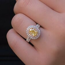 Diamond Engagement Ring 14K White Gold Glorious 3.40Ct Oval Cut Yellow Certified