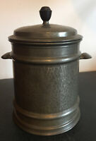 Art Deco Pewter biscuit jar English Hammered Pewter with Bakelite handle