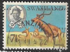 Issued 1969 Swaziland 7.5c - posted 1972 shows antelope impala - animal theme