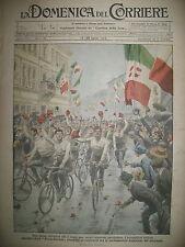 WW1 COURSE BERSAGLIERI CYCLISTE PAVIE GORIZIA LA DOMENICA DEL CORRIERE 1919