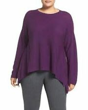 NWT Eileen Raisn Round Neck Fisher Fine Merino Wool Links Top Size 3X MSRP $258