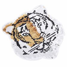 1 Pc Sequins Tiger Color Change Reversible Badge Patches Applique DIY Sew Craft