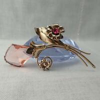 Art Deco Rose Crystal Czech Glass 12k GF Flower Pin Brooch By SB Weighs 24.5 g