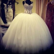 Luxury Ball Gowns Wedding Dresses Beading Sleeveless Bridal Gowns Plus Size
