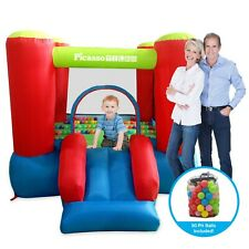 PicassoTiles Jump & Slide Inflatable Bouncing House (Pit Ball Included) KC106
