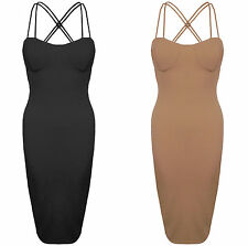 New Strappy Padded Cups Double Cross Back Stretch Bodycon Midi Party Dress