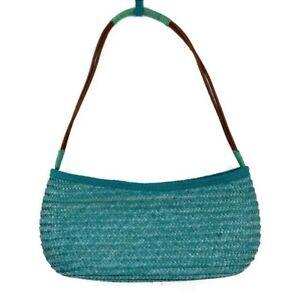 Teal Wheatstraw Straw Hobo Shoulder Purse Handbag Lined Zipper Closure Pocket