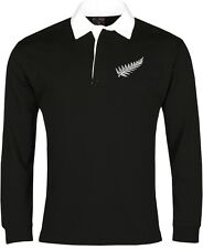 New Zealand National Rugby Long Sleeve Shirt Sizes S-XXXL Embroidered Logo