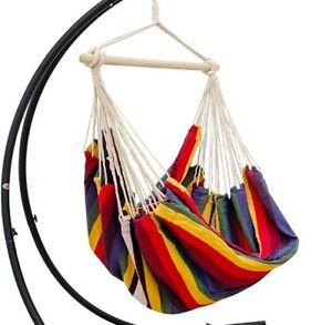 AMANKA XXL Swing Chair 185x130cm Cloth Hanging Seat Hammock Rainbow Stripes