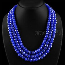Natural 3 Rows Faceted 5x8mm Blue Sapphire Gems Beads Necklace 17-19'' AAA