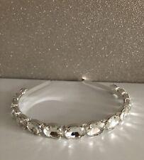 Womens Pearl Jewel Embellished Crystal Crown Hairband Headband Silver Diamonte