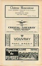 ADVERT Vouvray Vineyard Wine Chateau Moncontour Cristal Marc Bredif A Carre