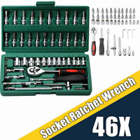 "46Pc 1/4"" Socket Ratchet Wrench Screwdriver Auto Repairing Set with Toolbox Case"