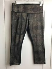Lululemon Cropped Leggings Womens Size 6 Black Brown Print Waist Pocket