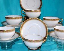 ANTG T. HAVILAND LIMOGES FRANCE HEAVY GOLD FLORAL LOT 6 TEA CUP SAUCER SETS