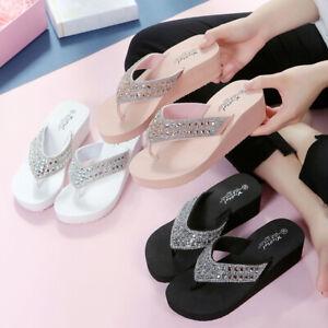 Womens Wedge Thong Flip Flops Rhinestone Sandals Flat Slippers Casual Beach Shoe